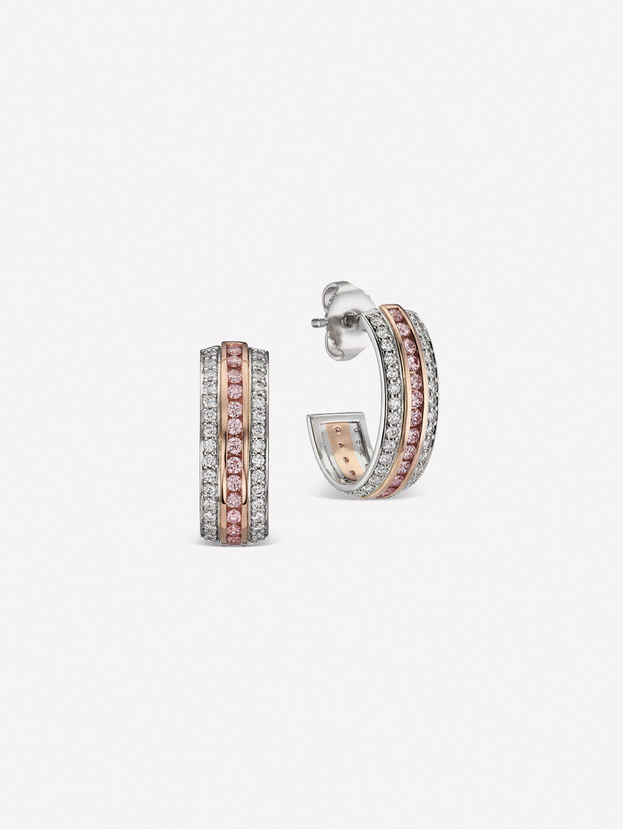Ear huggies crafted in natural pink diamonds and white diamonds | hoops| argyle