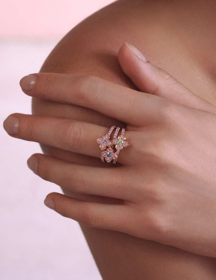 Pink diamond rings created by J Fine in a floral azalea design