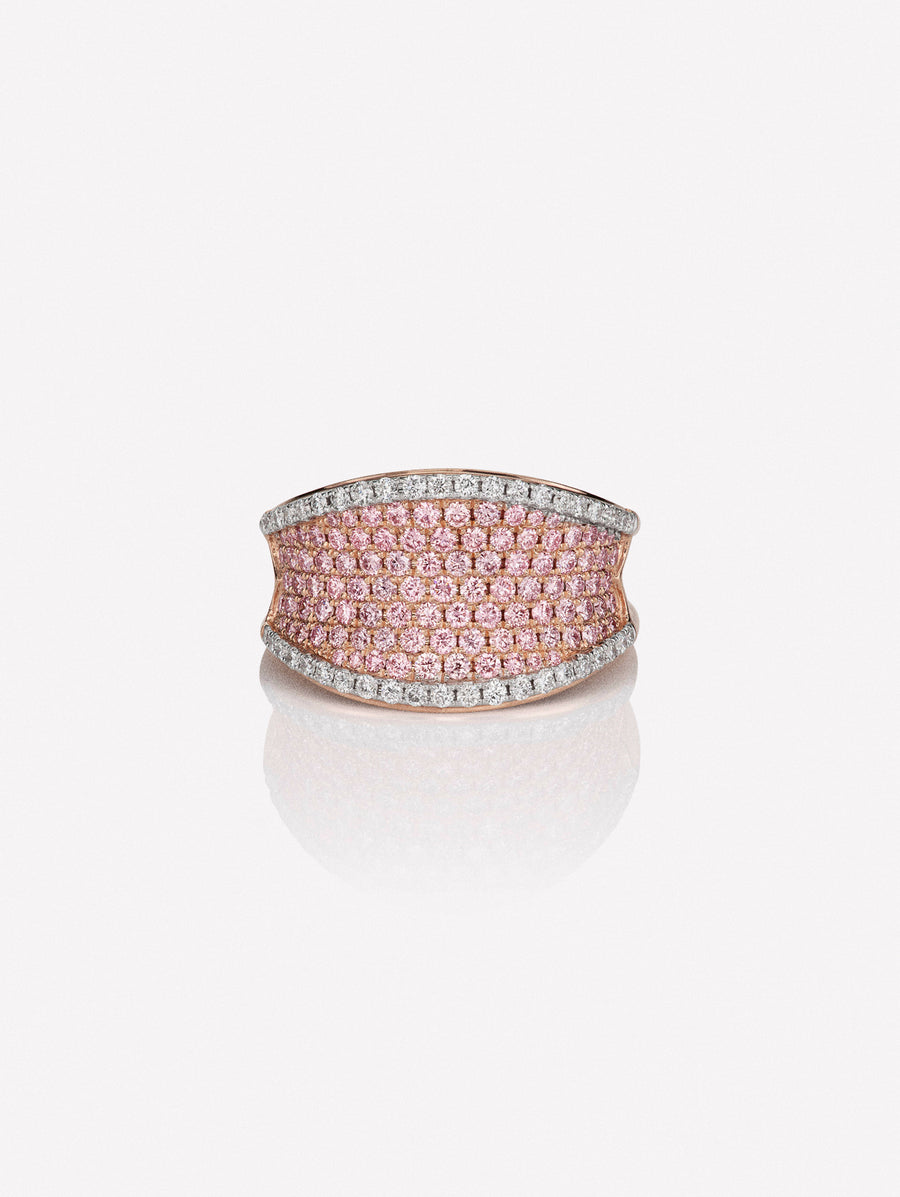 pink diamond saddle ring in 18K by J F I N E .