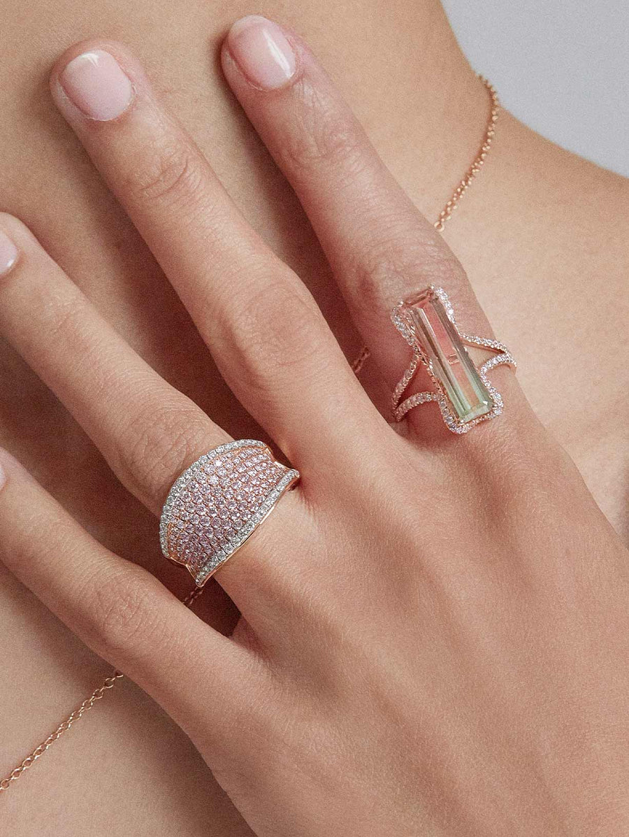 Tourmaline and Argyle Pink™ Diamond Ring by J F I N E .