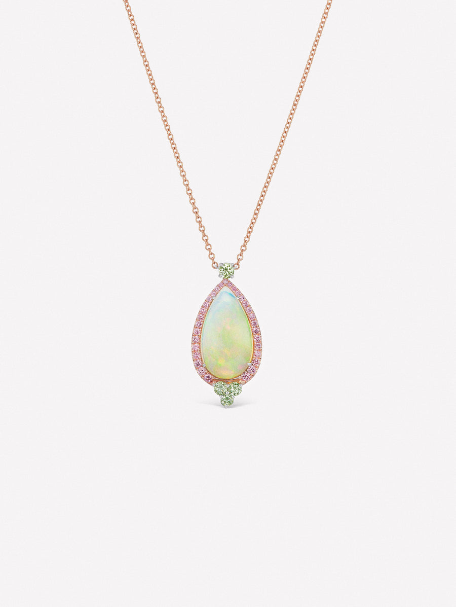 Cabochon opal pendant surrounded by Argyle pink diamonds and green diamond accents.