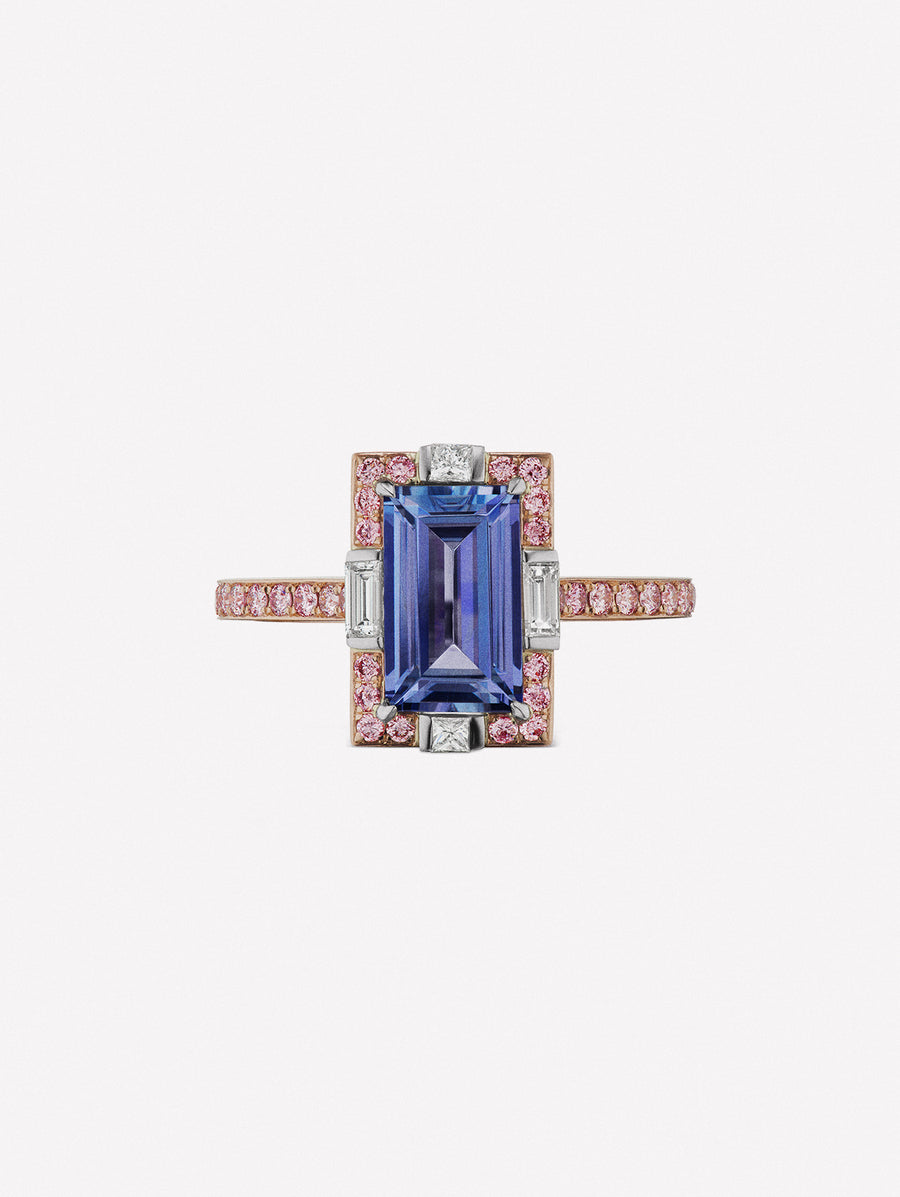 Rectangular pink diamond ring with rectangular tanzanite center stone and white diamond accents from J Fine