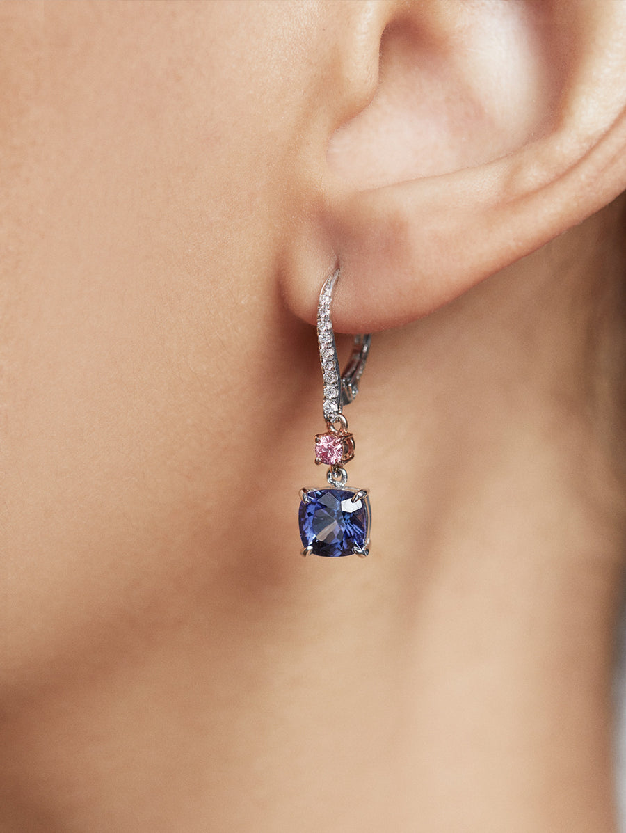 Tanzanite and Argyle Pink Diamond Earrings by JFINE