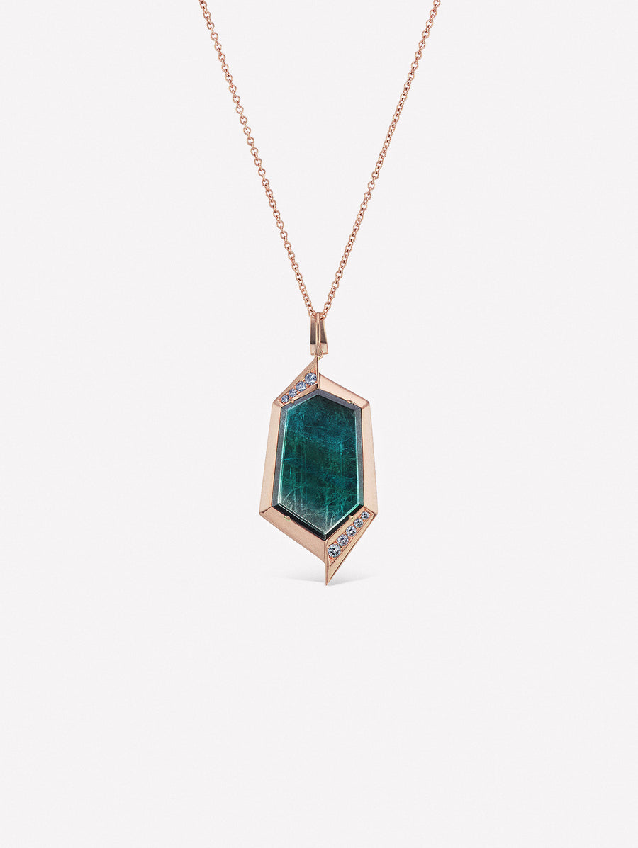 J Fine necklace with tourmaline slice accented with blue diamonds and grey diamonds from the Argyle mine in Australia