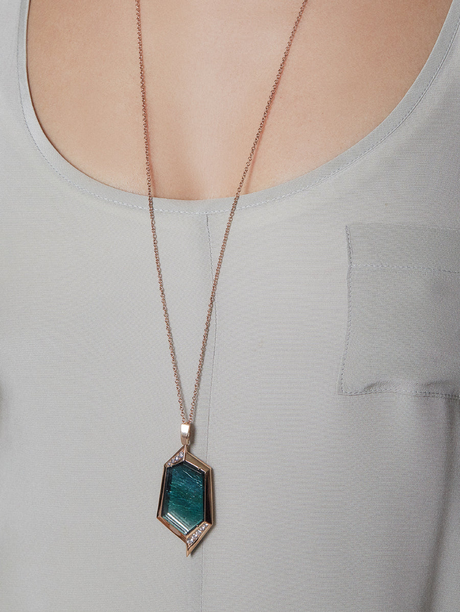 Tourmaline Pendant with pink diamonds worn by model