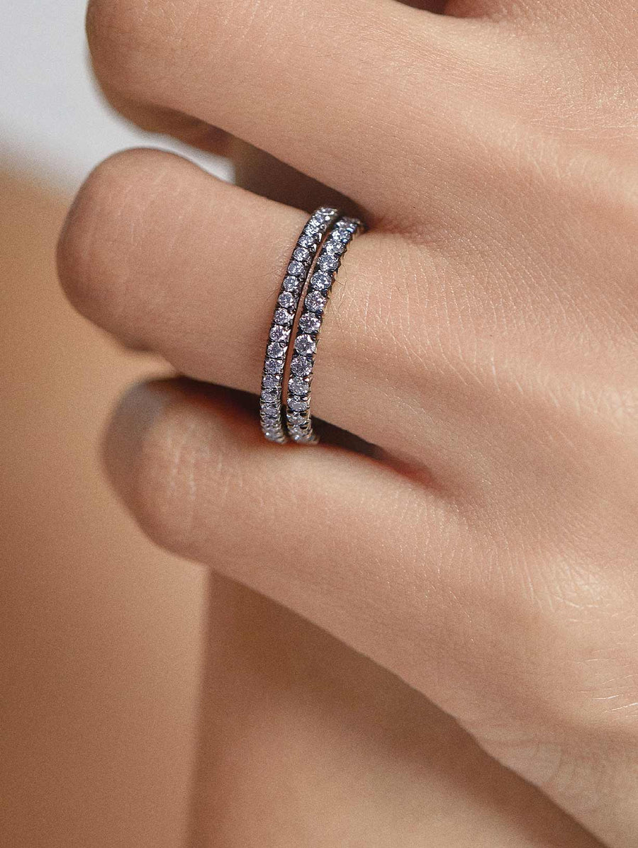 Argyle Blue Diamond French Pave Eternity Band 0.65ctw by J F I N E .