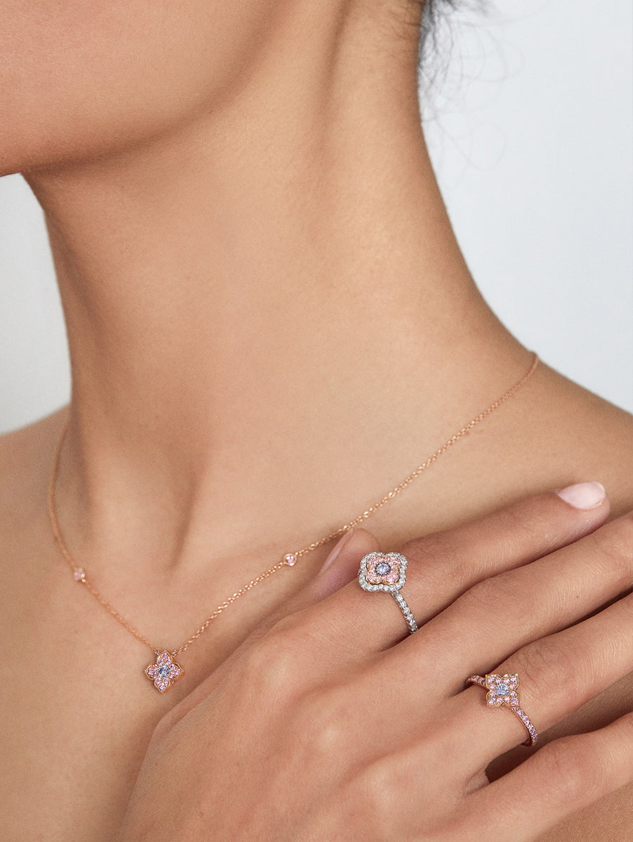 natural blue diamond from Argyle Diamond mine in Azalea Necklace and rings from JFINE