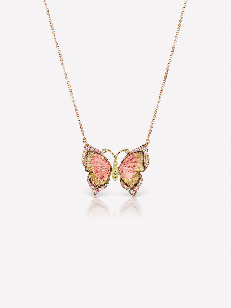 Pink diamond and watermelon tourmaline butterfly necklace