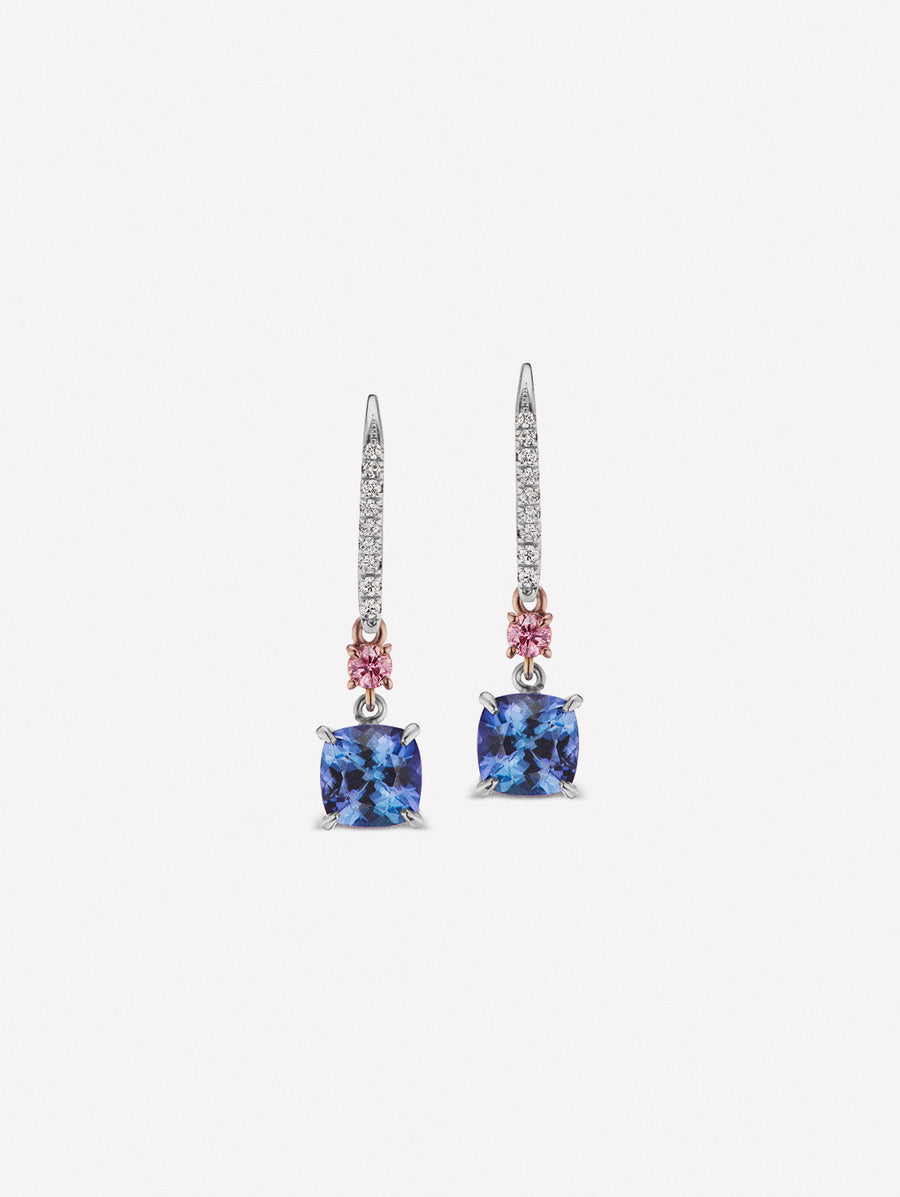 Argyle Pink™ Diamonds and Tanzanite Earrings intense purplish pink diamonds