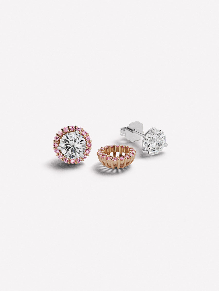 Argyle pink diamond ear stud jacket.  Pink diamonds surround white diamond studs.