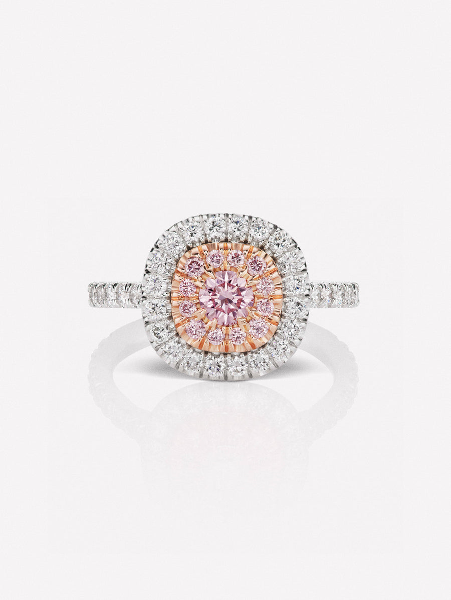 Argyle Pink™ Diamond Classic Halo Ring by J F I N E .