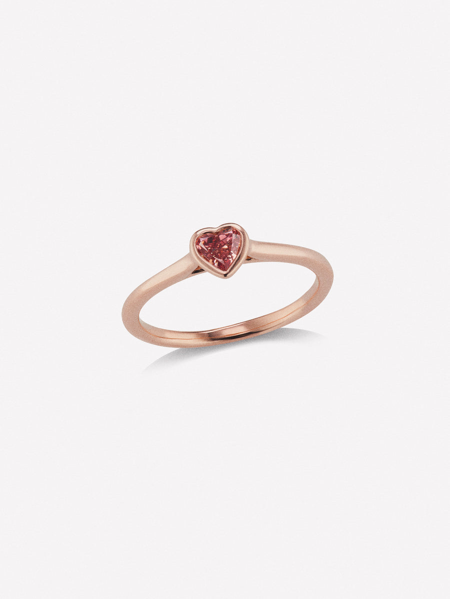 Heart shape pink diamond ring stackable