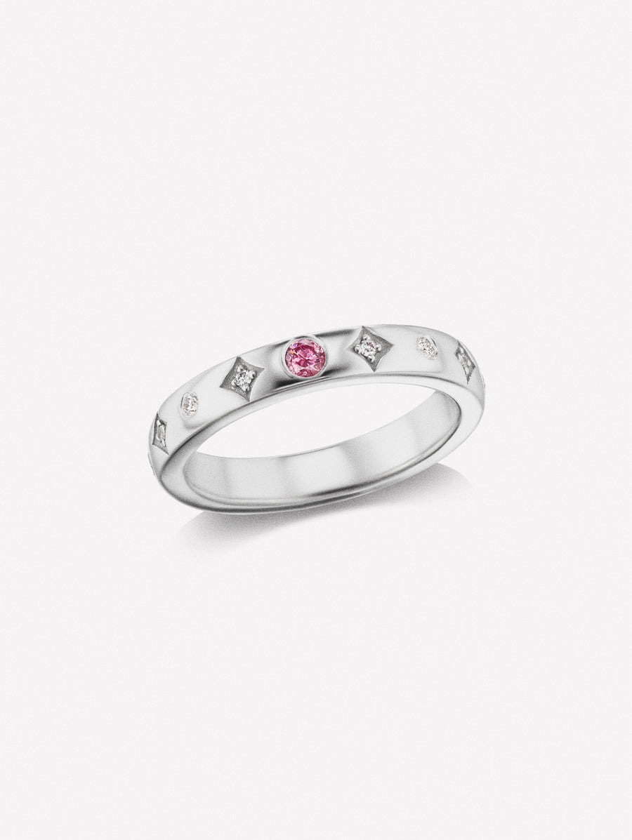 Intense Pink diamond band in white gold