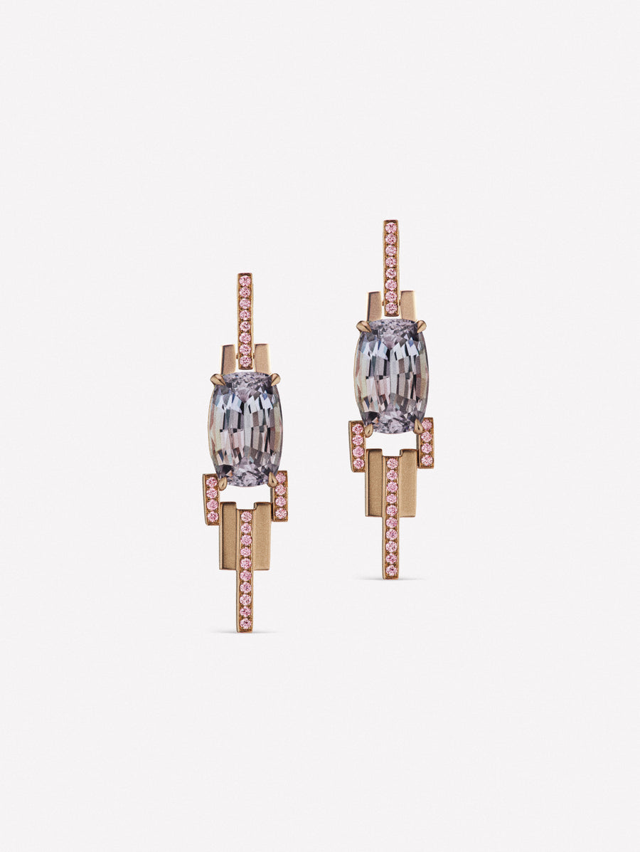 Tanzanian and Pink diamond earrings in 18K rose gold