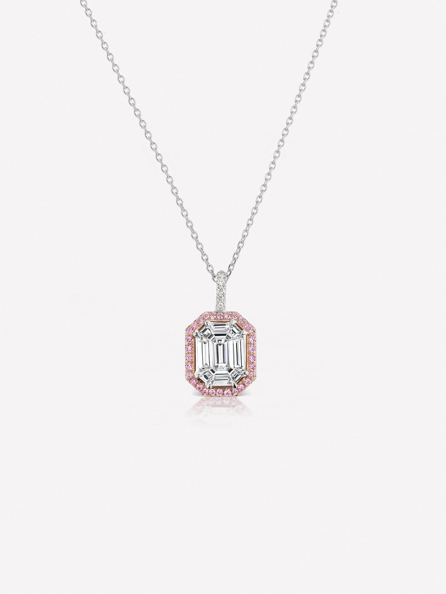 Argyle Pink™ Diamond Invisibly Set Emerald Cut Pendant by J F I N E .