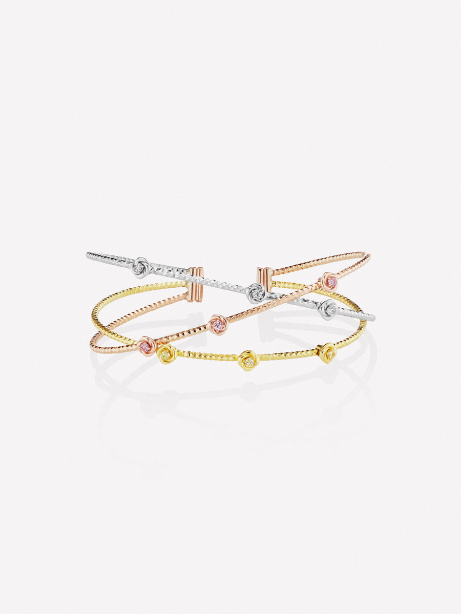 Pink yellow and white diamond cuff bracelet
