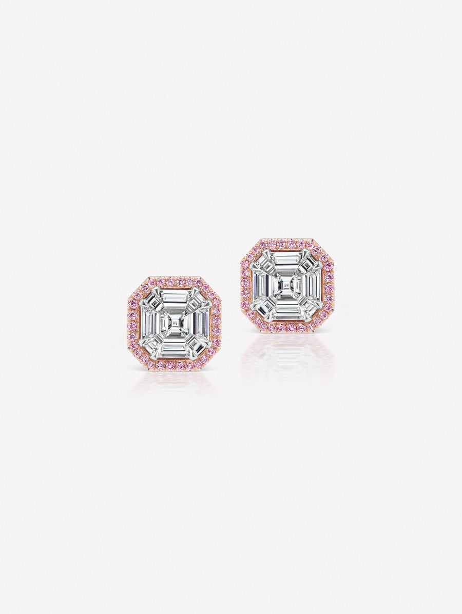 Argyle Pink™ Diamond Invisibly Set Asscher Cut Earrings by J F I N E .