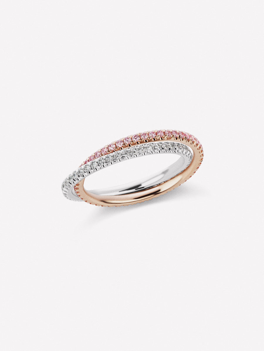 PInk diamond and white diamond bands intertwined, and can move independently of each other.