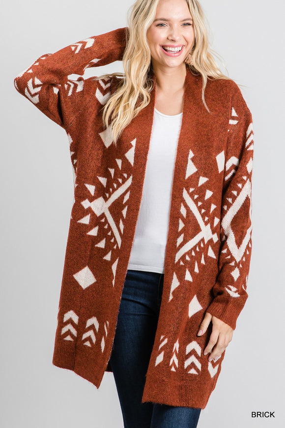 Truly Tribal Cardigan In Brick