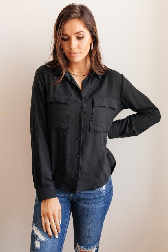 Every Girl's Go To Black Button Down Blouse