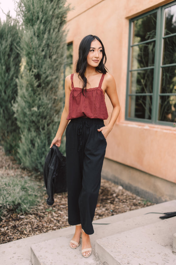 Eyelet You Know Tank In Burgundy