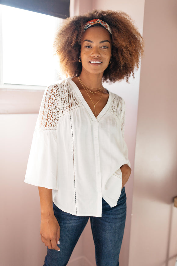 Gracie Lacey Shoulder Button Down Blouse In Ivory