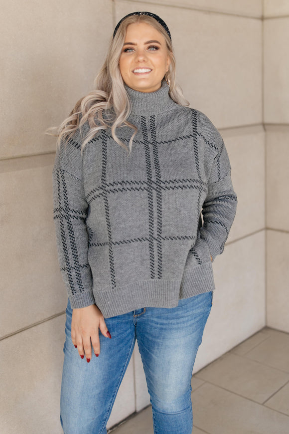 Grand Grid Print Sweater in Charcoal
