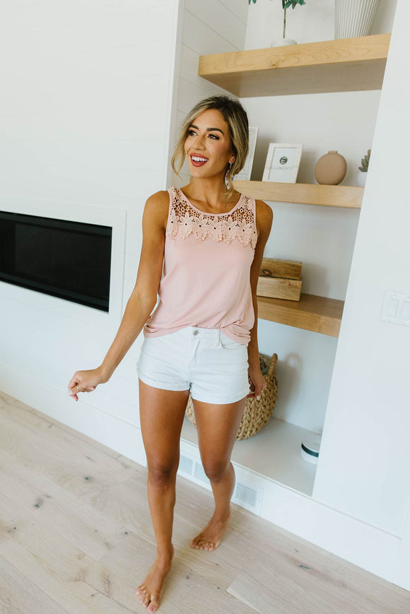 Lace & Shoulders Above The Rest Tank In Blush