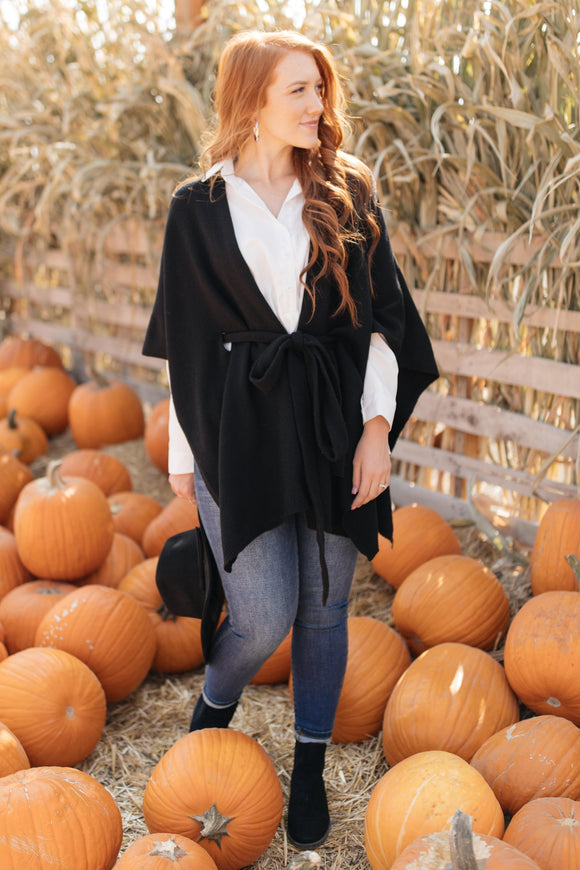 Perfect Poncho Cardigan in Black