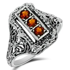1CT Fire Garnet 925 Sterling Silver Filigree Ring Jewelry Sz 7 W-36