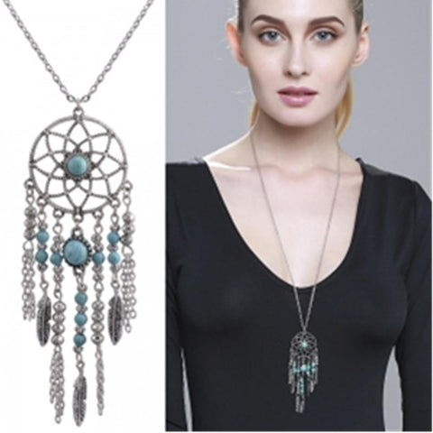 Indien Style Hot New Dream Catcher Collier Tube Col Bleu Pierre Gland Perles Collier Bijoux Collier pour les Femmes