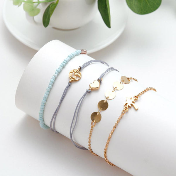 Europe et amérique simple vent cocotier carte amour tendance cool cool bracelet ensemble de cinq