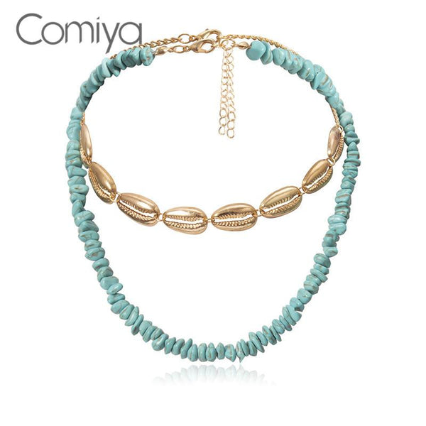 Comiya mode colliers Double couches Chocker ethnique charmes coquillages bijoux Boho Collare Feminino déclaration collier pour les femmes