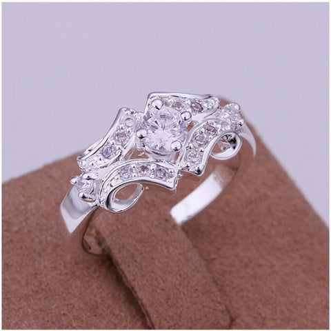 Delicate  Lady's Silver Plated Inlaid Stone Belt Ring Particular Ring New Style