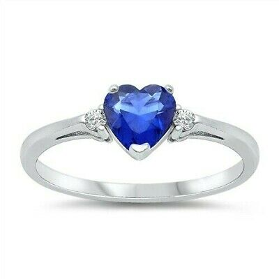 Heart Ring Sterling Silver 925 Jewelry Blue Sapphire CZ Face Height 6 mm Size 12