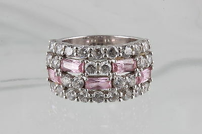 NF THAILAND STERLING SILVER PINK & CLEAR STONES RING SIZE 7 925 FINE 2939B