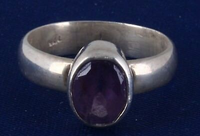 STERLING SILVER AMETYHYST CRYSTAL RING SIZE 6 925 FINE 7029B