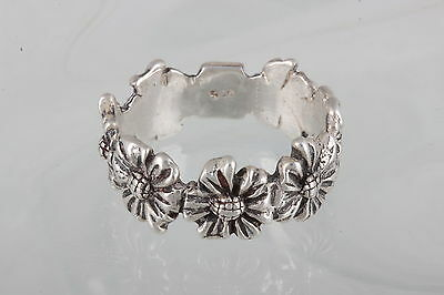 STERLING SILVER HAN THAILAND FLOWER BLOSSOM BAND SIZE 8 925 FINE 1493B