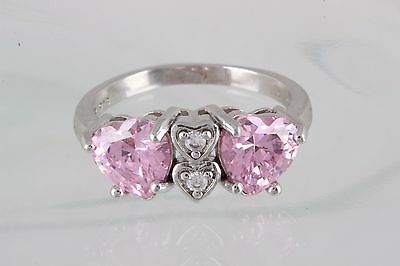 STERLING SILVER NV PINK & CLEAR STONES HEART RING SIZE 9  925 FINE 0989B