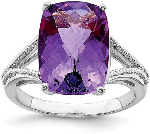STERLING SILVER SYNTHETIC AMETHYST RING SIZE 7 I-10491