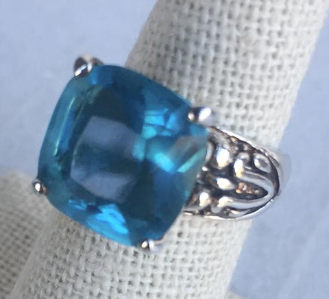 Sterling Silver Dark Blue And Light Blue Stone Ring Size 6.25