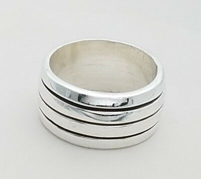 Sterling Silver Wide 10 mm Triple Groove Wedding Band Ring Size 7