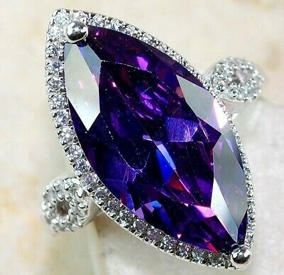 Top Quality 1CT Amethyst &  Topaz 925  Sterling Silver Ring Jewelry Sz 6 PR11