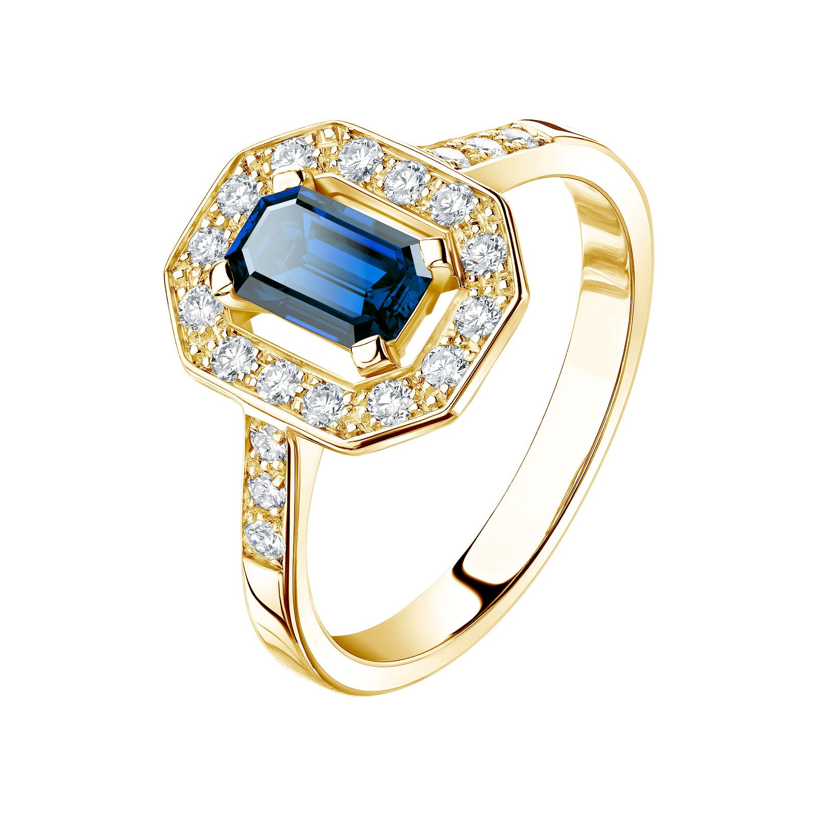 bague diamant or jaune saphir