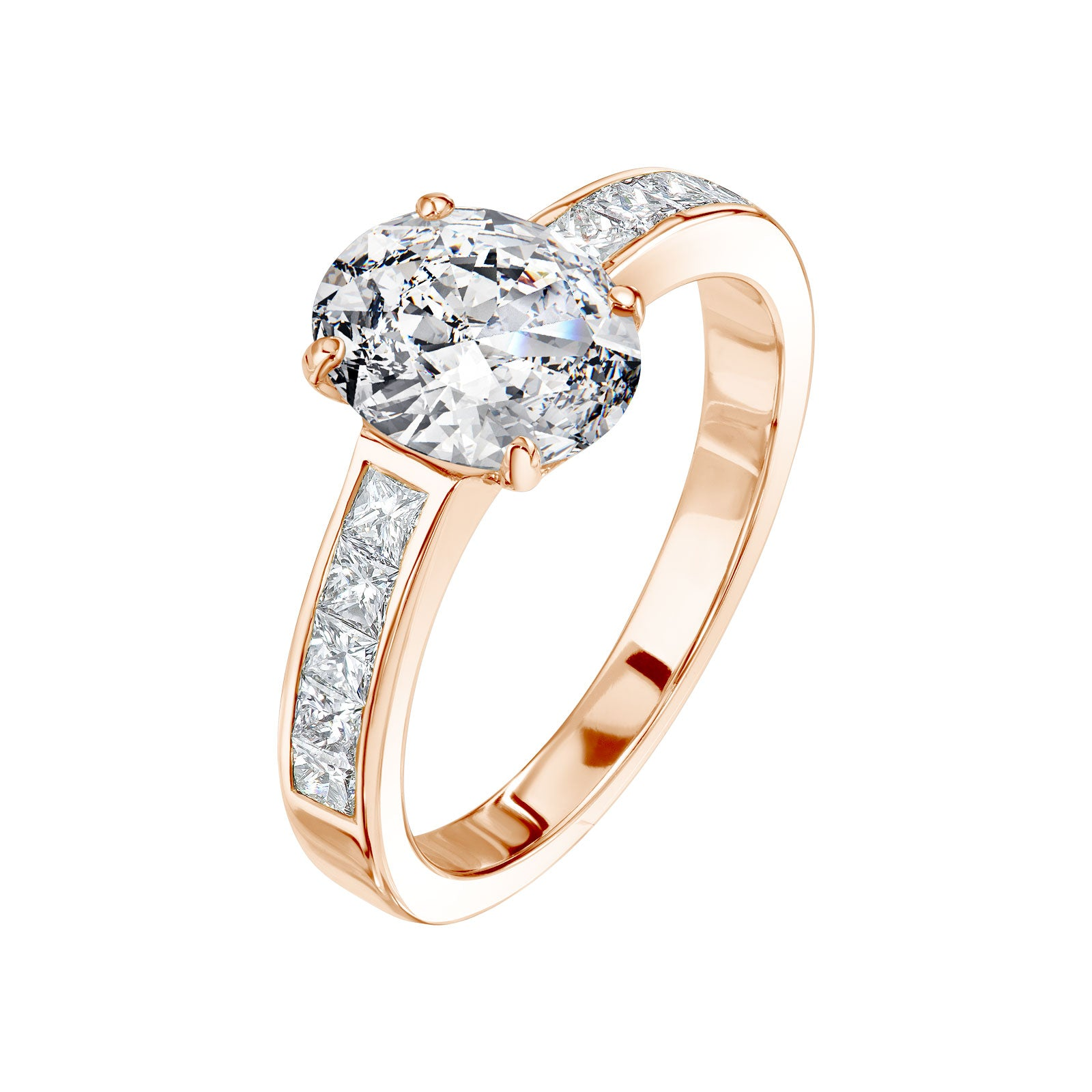 bague diamant or rose et blanc