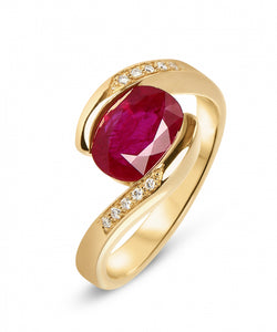 bague or 3 rubis