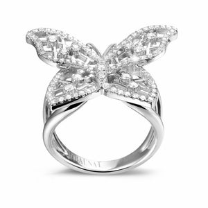 bague or blanc diamant papillon
