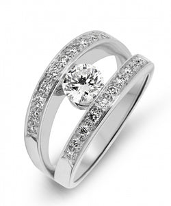 bague or blanc diamant serti