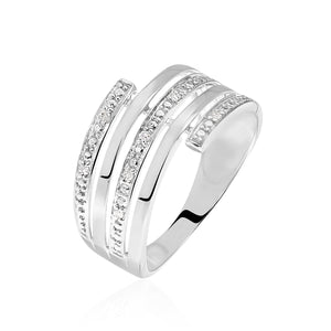 bague or blanc large femme