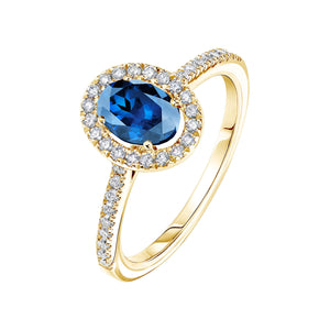 bague or jaune diamant bleu